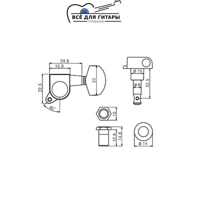 Комплект колков Metallor J-01-CR Wil Series (6 шт)
