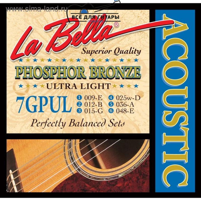 La Bella 7GPUL Phosphor Bronze Acoustic 9-48 Ultra Light