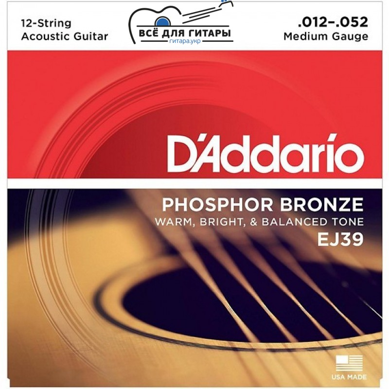 DAddario EJ39 Phosphor Bronze Medium - 12 струн (012-052)