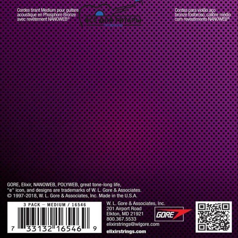Elixir 16546 NANOWEB Phosphor Bronze 13-56 Medium Bonus pack (3 pack)