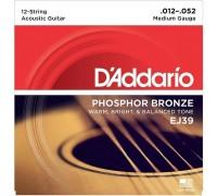 DAddario EJ39 Phosphor Bronze Medium - 12 струн (012-052)
