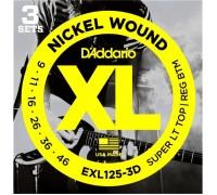 DAddario EXL125-3D XL 9-46 Super Lt Top / Reg Btm (3-pack)