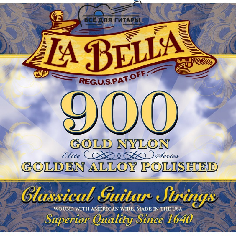 La Bella 900 Elite Gold Nylon, Polished Golden Alloy Medium Tension