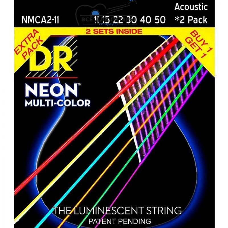 DR Strings Hi-Def NEON Multi-Color Medium Light (011-050) 2 Pack