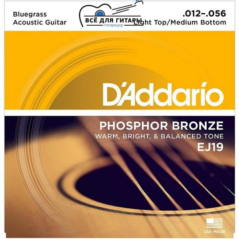 D'Addario EJ19 Phosphor Bronze Bluegrass Medium Light (012-056)