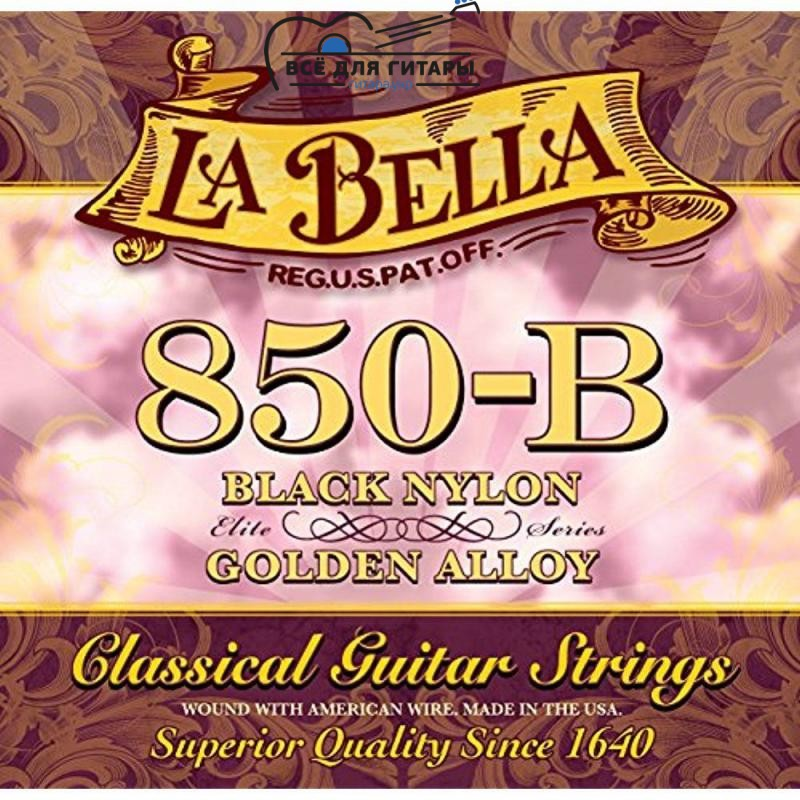 La Bella 850-B Elite Black Nylon, Golden Alloy Medium Tension