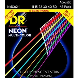 DR Strings Hi-Def NEON Multi-Color Medium Light (011-050) 2 Pack