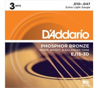 DAddario EJ15-3D Phosphor Bronze 10-47 Extra Light (3-pack)
