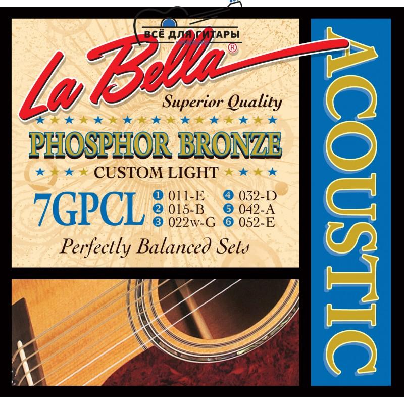 La Bella 7GPCL Phosphor Bronze Acoustic 11-52 Custom Light