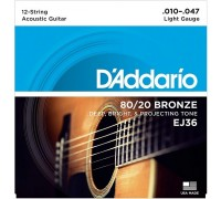 DAddario EJ36 Bronze Light - 12 струн (010-047)