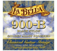 La Bella 900-B Elite Black Nylon, Polished Golden Alloy Medium Tension