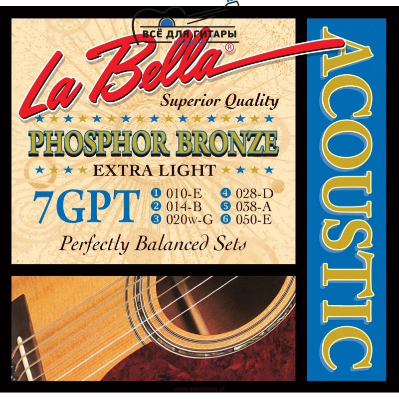 La Bella 7GPT Phosphor Bronze Acoustic 10-50 Extra Light