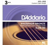 DAddario EJ26-3D Phosphor Bronze 11-52 Custom Light (3-pack)