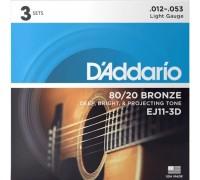 DAddario EJ11-3D 80/20 Bronze 12-53 Light (3-pack)