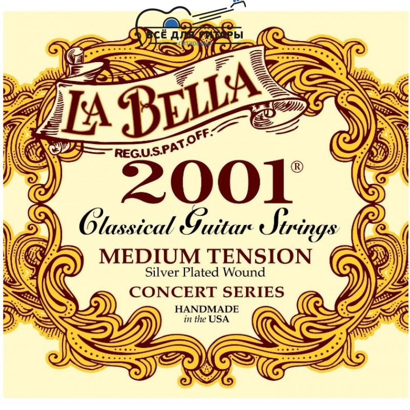 La Bella 2001-M Concert Series Silver Plated Medium Tension