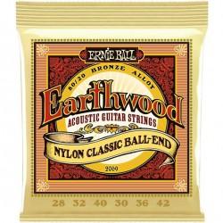 Ernie Ball 2069 Earthwood 80/20 Bronze 28-42 Folk Nylon Clear & Gold Ball End