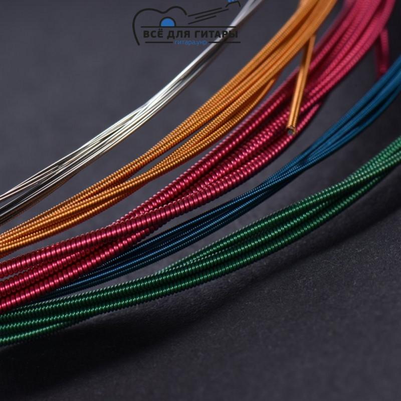 Разноцветные струны для акустической гитары
