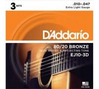 DAddario EJ10-3D 80/20 Bronze 10-47 Extra Light (3-pack)