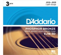 DAddario EJ16-3D Phosphor Bronze 12-53 Light (3-pack)