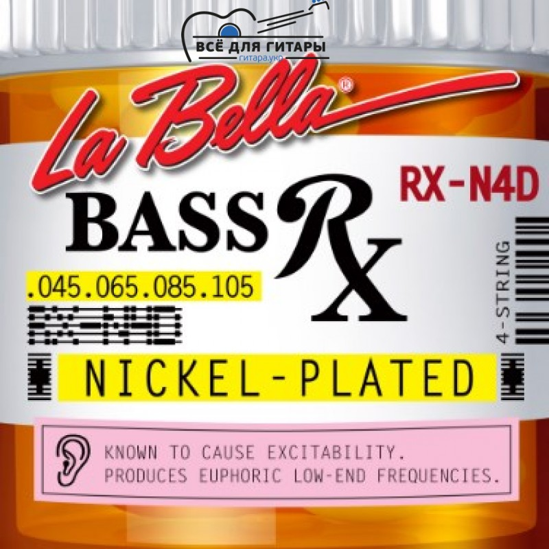 La Bella RX-N4D Rx Nickel 45-105 4-String Bass