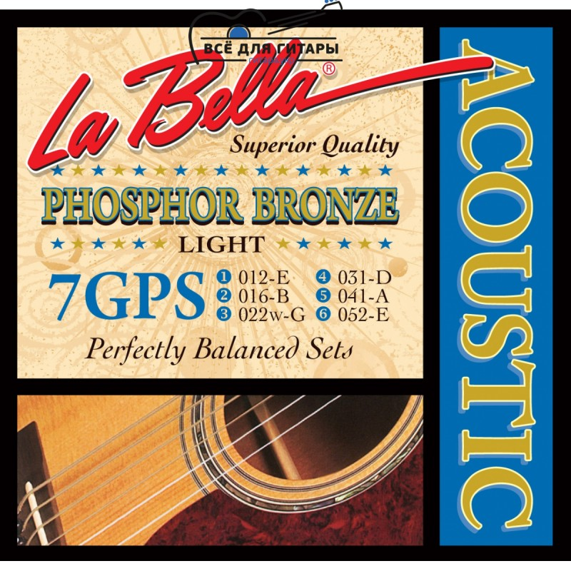 La Bella 7GPS Phosphor Bronze Acoustic 12-52 Light