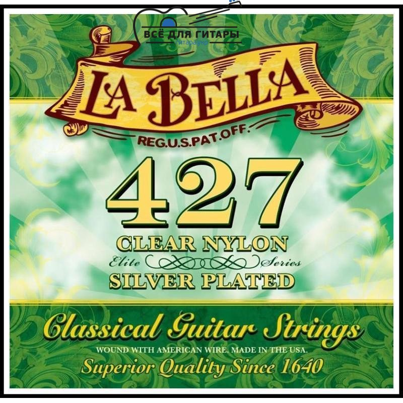 La Bella 427 Elite Clear Nylon, Silver Plated Medium Tension