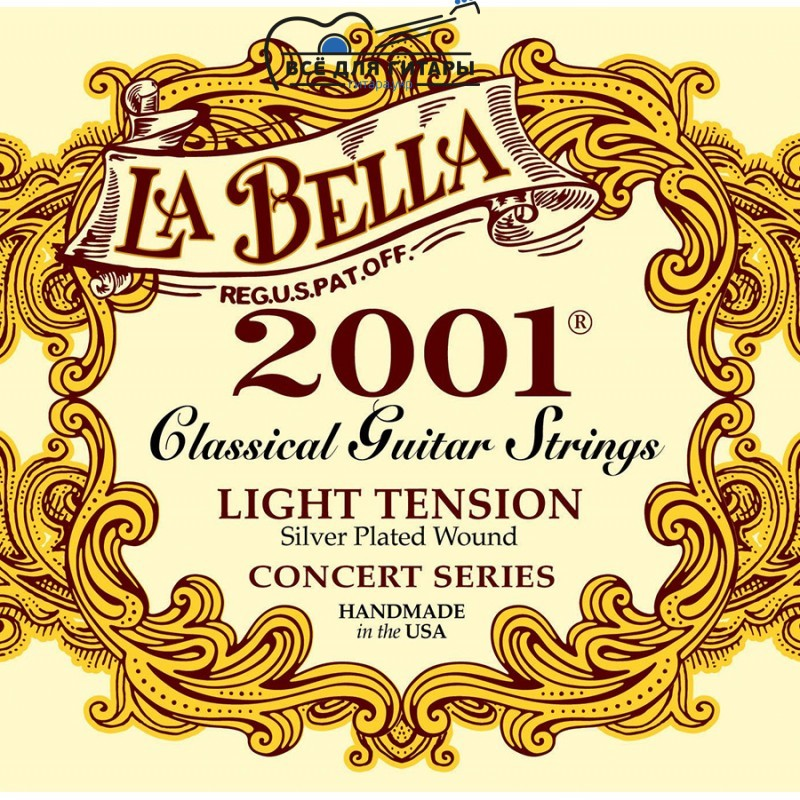 La Bella 2001-L Concert Series Silver Plated Light Tension