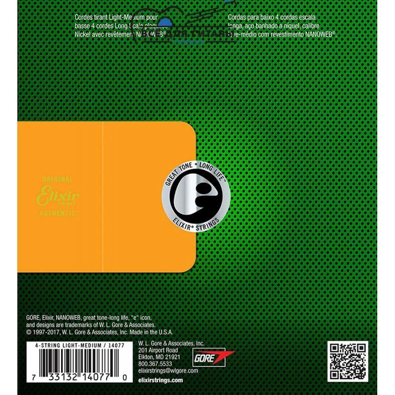 Elixir 14077 NANOWEB Bass 45-105 Medium