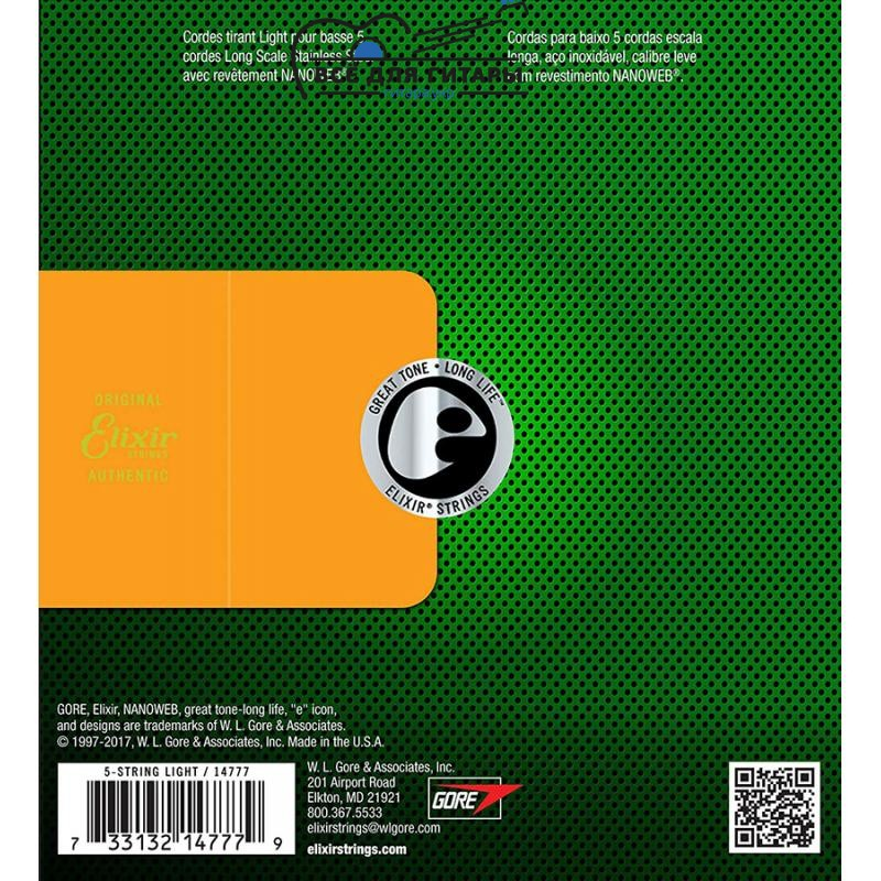 Elixir 14777 NANOWEB Stainless Steel Bass 45-130 5-string