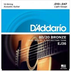 DAddario EJ36 Bronze Light - 12 струн (010-047)